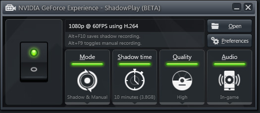 NVIDIA  GeForce Experience - Paramètres ShadowPlay